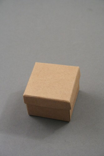 Natural Brown Paper Gift Box. Approx Size: 5cm x 5cm x 3.5cm. This Box has a Black Flocked Foam Pad Insert.