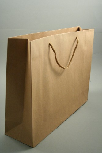 Natural Brown Paper Gift Bag with Cord Handles. Approx Size 27.5cm x 35cm x 10cm