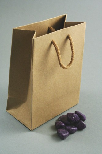 Natural Brown Paper Gift Bag with Corded Handle. Approx Size 14cm x 11cm x 6cm