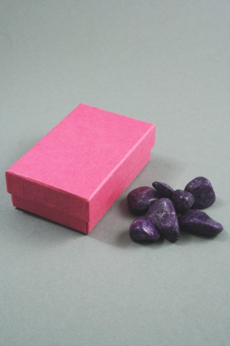 Fuchsia Pink Gift Box. Approx Size 8cm x 5cm x 2.5cm. Black Flock Pad Inner with Two Top Slits and Two Side Slits and Holes for Earring Wires.