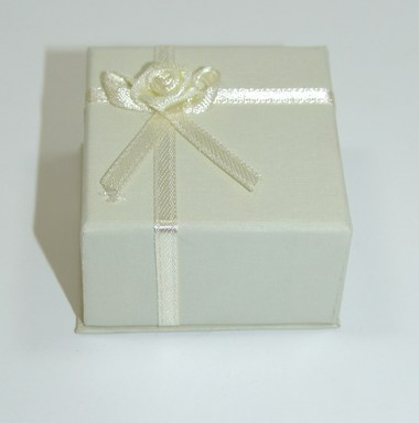 Ivory Satin Ribbon Ring or Earring Giftbox with Ribbon and Rosebud Detail. Size 5cm x 5cm x 3cm.