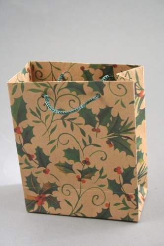 Holly Print Natural Brown Gift Bag with Cord Handles Size Approx 14cm x 11.5cm x 6cm.