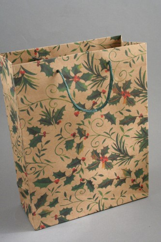 Natural Brown Gift Bag with Holly Decoration and Cord Handle. Size Approx 24cm x 19cm x 8cm.