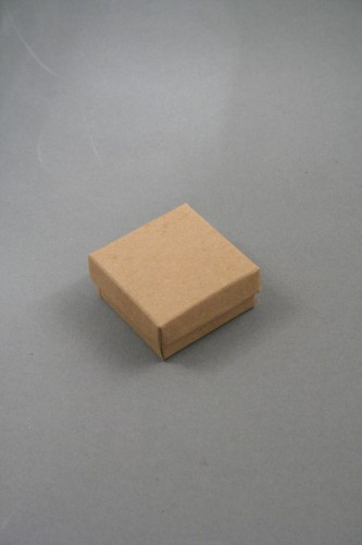 Natural Brown Kraft Paper Gift Box with Black Insert. Approx Size: 5cm x 5cm x 2.2cm. This Box has a Black Flocked Foam Pad Insert.