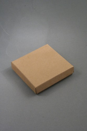 Natural Brown Kraft Paper Gift Box with Black Insert. Approx Size: 9cm x 9cm x 2.2cm. This Box has a Black Flocked Foam Pad Insert.