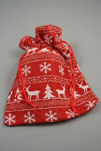 Red and White Christmas Print Fabric Drawstring Gift Bag. Size Approx 16cm x 14cm