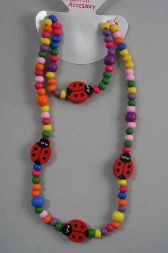 Bright Coloured Wooden Bead and Ladybird Beaded Necklace and Bracelet Set.