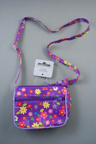 Floral Printed Zip Purse with Long Shoulder Strap. In Black, Red, White and Purple. Fully Lined.