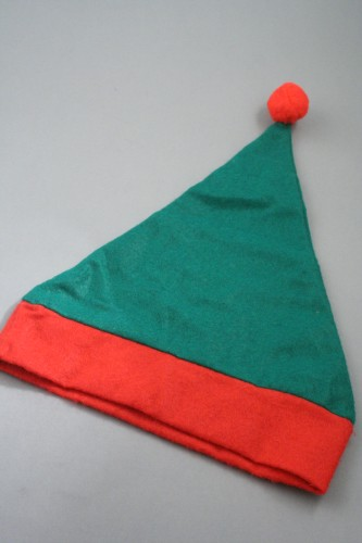 Child Size Christmas Elf Hat in Green with Red Trim. Approx Circumference 52cm