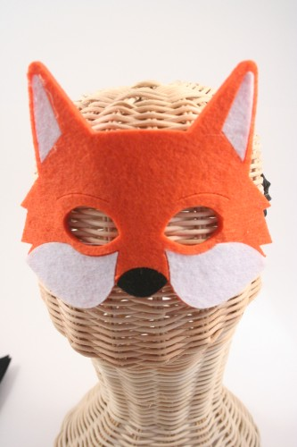 Childrens Woodland Animals Felt Face Mask. In Owl, Mouse, Hedgehog, Fox, Rabbit and Badger
