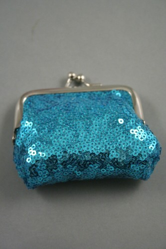 Sequin Fabric Coin Purse with Ball Snap Clasp. In Pink, Silver and Turquoise. Approx Size 8cm x 5cm