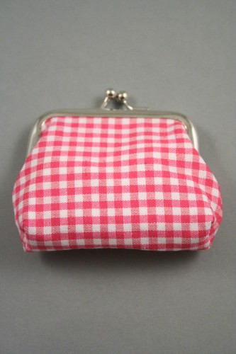 Gingham Check Fabric Coin Purse with Ball Snap Clasp. In Red, Pink, Blue, Yellow, Royal Blue and Black. Approx Size 8cm x 5cm
