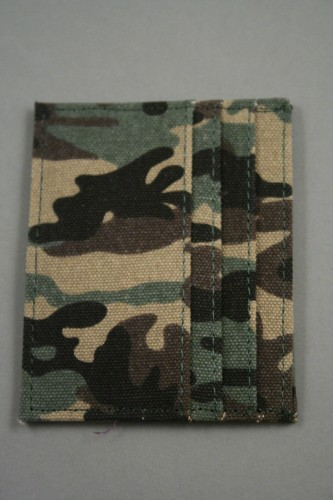 Camouflage Fabri Card Holder. 3 Slots Either Side. Approx Size 10cm x 8cm